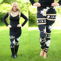 Check My Aztec Patterned Leggings in Black