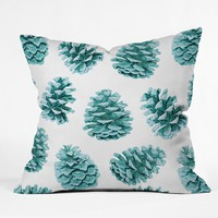 Lisa Argyropoulos Aqua Teal Pine Cones Outdoor Throw Pillow