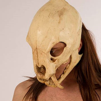 Saber Tooth Tiger Skull Mask With Movable Jaw