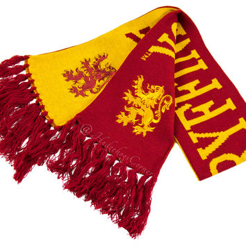 "Wizarding World Harry Potter Gryffindor Reversible Scarf w/ Lion 64"" NEW"