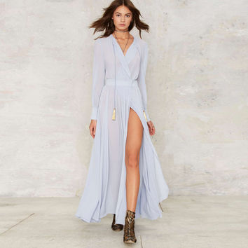 Long sleeve light blue maxi wrap dresses women V neck draped high slit sexy bohemian