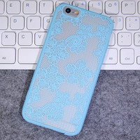 Fashion Sky Blue Lace Mobile Phone Case For Iphone  6 6s 6plus 6s plus + Nice gift box!