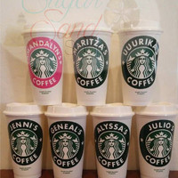 Personalized Coffee Cup, Custom To Go Coffee Cup with Decal, Coffee To Go Cup with Sticker