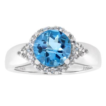 8mm Round Blue Topaz and White Topaz Halo Sterling Silver Ring