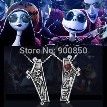 1Pair Nightmare Before Christmas Necklace Jack And Sally Pendant Necklace Women Men Fashion Jewelry Lover's Couple Necklaces