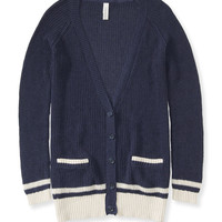 Aeropostale Womens Varsity Striped Cardigan - Blue,
