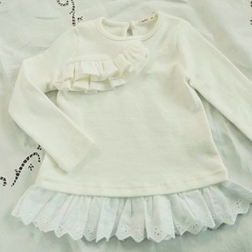 White Long sleeves shirt with ruffles toddler girls