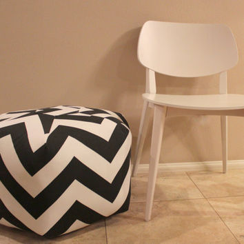 "24"" Ottoman Pouf Floor Pillow Black Large Zig Zag Chevron"