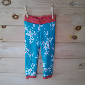 Baby leggings, teal cherry blossom infant toddler cotton jersey knit