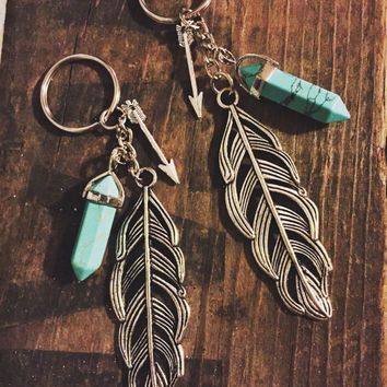 Large Feather Keychain with Teal Stone and Arrow Charm