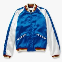 Indie Designs Saint laurent Inspired Satin Bomber Blue Jacket
