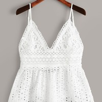 Eyelet Embroidery Knot Back Cami Top