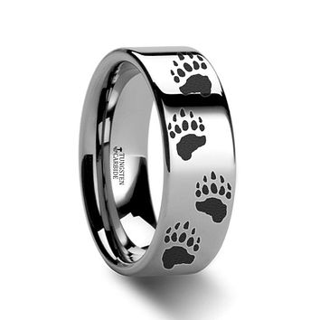 Animal Design Ring - Bear Paw Print - Bear Track - Laser Engraved - Flat Tungsten Ring - 4mm - 6mm - 8mm - 10mm - 12mm