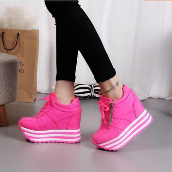 women shoes new arrival autumn high-top height increasing Superfine fiber women fashio