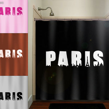 Eiffel Tower CityScape Skyline Word Paris shower curtain bathroom decor fabric kids bath white black custom duvet cover rug mat window