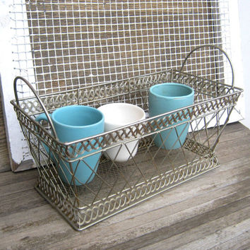Vintage Metal Basket Tote - Rectangular Metal Magazine Caddy; Mail Holder; Hanging Cup Display; Gardening Caddy - Goldtone Wire Tote Basket