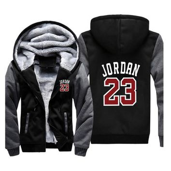 2018 New Fashion Brand Men/Women Jordan 23  Zipper Hooded Casual Sweatshirt Winter Thickened Warm Hoody Hip Hop plus size M-5XL