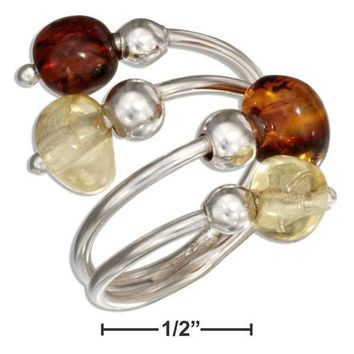 Sterling Silver Ring:  Adjustable Multicolor Baltic Amber Bypass Ring
