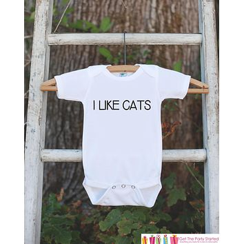 Funny Kids Shirts - I Like Cats - Cat Lover Onepiece or T-shirt - Boy or Girl Shirt - Great Gift Idea for Infant, Toddler, or Youth