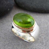 Peridot Ring in 18k Gold and Sterling, Gemstone Ring