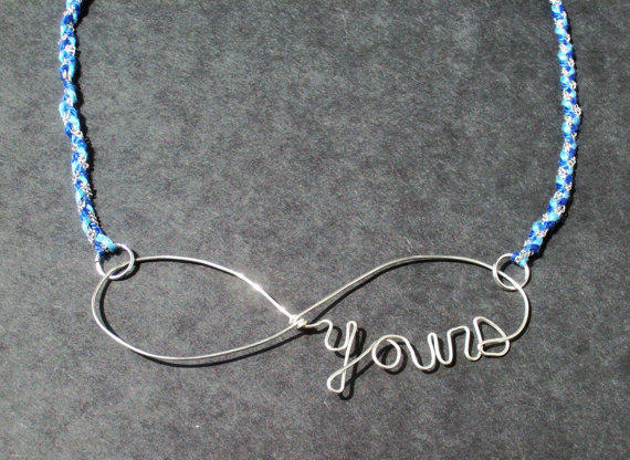 Forever Yours Infinity Necklace- silver wire and blue woven necklace