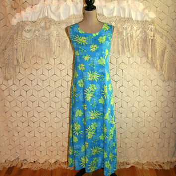 90s Vintage Summer Dress Sleeveless Maxi Dress Hawaiian Print Blue Beach Resort Casual Shift Size 10 Size 12 Medium Large Womens Clothing