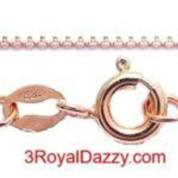 """1 mm box chain -18 """"- Italian 14k Rose gold layered over .925 sterling silver"""