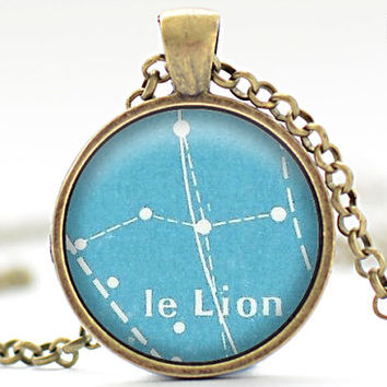 Vintage French Postcard Leo Necklace, Zodiac Jewelry, Leo Charm, Astrology Pendant, Your Choice of Finish (1820)