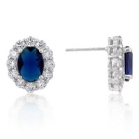 EARRINGS Royal Wedding Earrings Sapphire Blue Crystal Surrounded by Pave of CZs