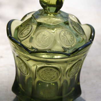 Olive Green Coin Glass (Pattern Number 1372) Candy Dish And Cover By Fostoria
