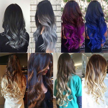 "Curly Wavy Heat Resistant Hair Extensions 24"" 5 Clips Clip-in Ombre"