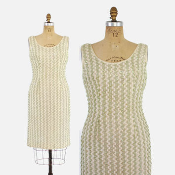60s Bombshell SEQUIN Wiggle DRESS / Vintage 1960s Ivory and Mint Green Ribbon Crochet Sequin Cocktail Dress M