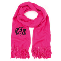 Monogrammed Soft Knit Scarf ~ Bright Pink
