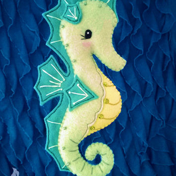 Seahorse Sewing Pattern PDF - Ocean Stuffed Animal Felt Plushie - Serena the Seahorse - Instant Download