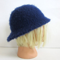 vintage brilliant blue hat //  fuzzy brim hat