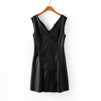x140223 New Fashion Women's Sexy PU Sleeveless Vest Dress Plus Size V-neck leather&polyester lining faux leather dress