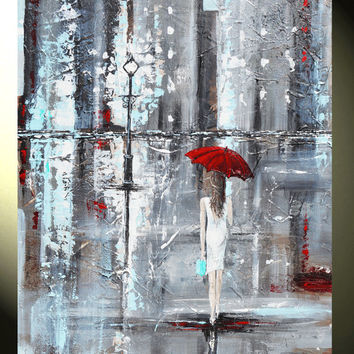 ORIGINAL Art Abstract Painting Red Umbrella Girl Rain White Grey Modern Textured Urban Tiffany Blue Gift Idea Wall Decor, Christine Krainock