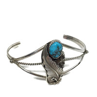 Native American Indian Navajo Sterling Silver Turquoise Cuff Bracelet