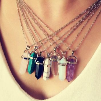 Women's Multi Color Quartz Necklace