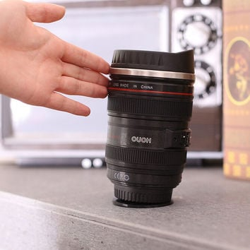 Stainless Steel Camera Lens Sucker Coffee Mug Cool Gift