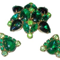 Regency Brooch Earring Demi Set Emerald & Lime Green Rhinestones Gold Metal Vintage