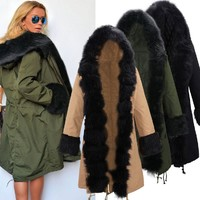 Fur Collar Star Love Hooded Jacket Long Winter Coat Windbreaker