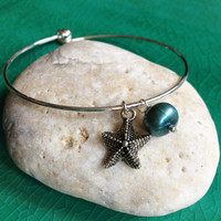 Silver Bangle Bracelet, with Two Charms or Initial Charms, Starfish, Pearl, Heart, Feather, Key, Cancer Awareness Ribbon, Homemade