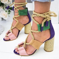 Selling Fashion Coloured Personal Fashion Fashion Fashion Ladies Large Sandals with Coarse heels and High heels Purple
