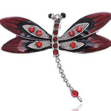 Alilang Silvery Tone Red Rhinestones Black Gothic Dragonfly Brooch Pin
