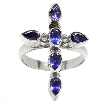 Iolite Cross Sterling Silver Ring