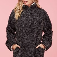 Fluffy Cloud Sherpa Pullover - Charcoal