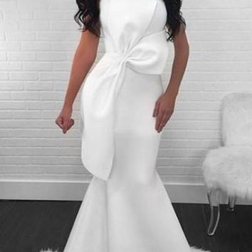 White Pleated Bowknot Banquet Mermaid Elegant Cocktail Party Maxi Dress
