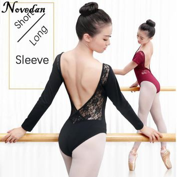 Adult Women Ballet Dance Dancewear Gymnastics Leotard Mesh Lace Tutu Costume Short & Long Sleeve Black Bodysuit