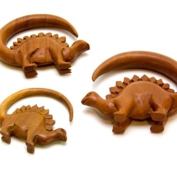 Dinosaur Organic Saba Wood Hanger Body Jewelry Plugs